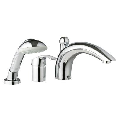 Eurosmart 3-Hole Single Handle Deck-Mount Roman Tub Faucet with Handshower in GROHE StarLight Chrome
