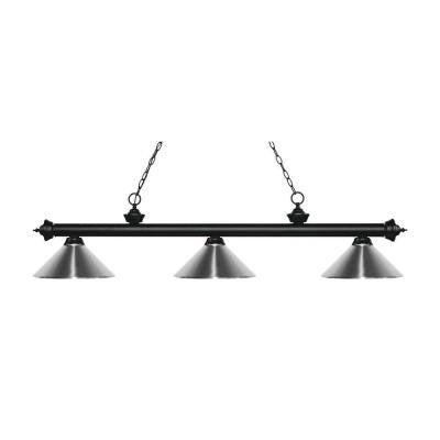 McEwen 3-Light Matte Black Island Light with Chrome Shades