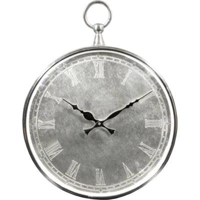 14 in. H Round Classic Silver Wall Clock