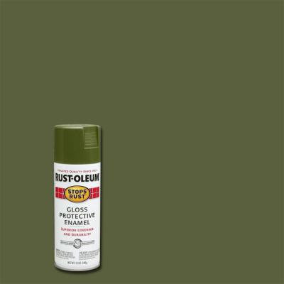 12 oz. Protective Enamel Gloss Army Green Spray (6-Pack)