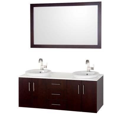 Arrano 55 in. Vanity in Espresso with Glass Vanity Top in White and Mirror