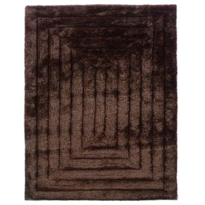 Links Collection Squared Chocolate 5 ft. x 7 ft. Indoor Area Rug