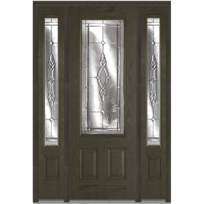 64 in. x 96 in. Brentwood Decorative Glass 3/4-Lite Finished Oak Fiberglass Prehung Front Door with Sidelites