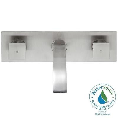 Wall-Mount 2-Handle Bathroom Vessel Faucet in Brushed Nickel