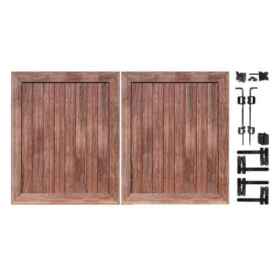 Pro Series 5 ft. x 6 ft. Walnut Vinyl Anaheim Privacy Double Drive Through Fence Gate