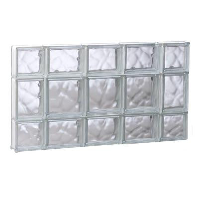 34.75 in. x 19.25 in. x 3.125 in. Non-Vented Wave Pattern Glass Block Window