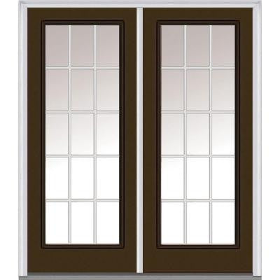 72 in. x 80 in. Classic Clear Glass GBG Full Lite Painted Fiberglass Smooth Double Prehung Front Door
