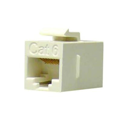 Cat6 Slim Straight F/F Feed-Through White Snap-In Keystone Coupler Jack