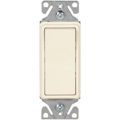 15 Amp 120-277-Volt Heavy-Duty Grade 3-Way Decorator Lighted Switch with Back and Push Wire - Light Almond