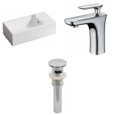 Rectangle Vessel Sink Set in White with Single Hole cUPC Faucet and Drain