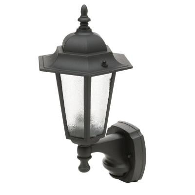 18 in. Black Motion Activated Outdoor Die-Cast Coach Lantern
