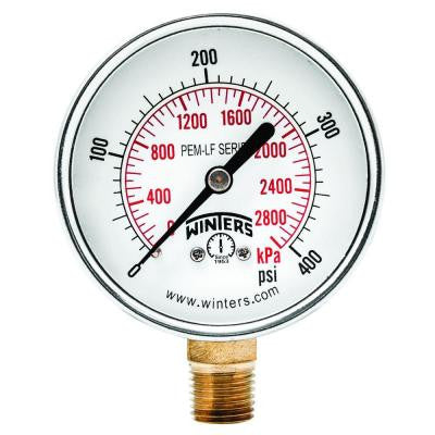 PEM-LF Series 2.5 in. Lead-Free Brass Pressure Gauge with 1/4 in. NPT LM and 0-400 psi/kPa