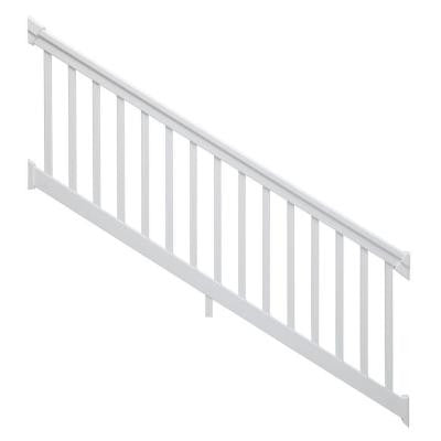 8 ft. x 36 in. 30° to 35° White Stair Rail Kit with Square balusters