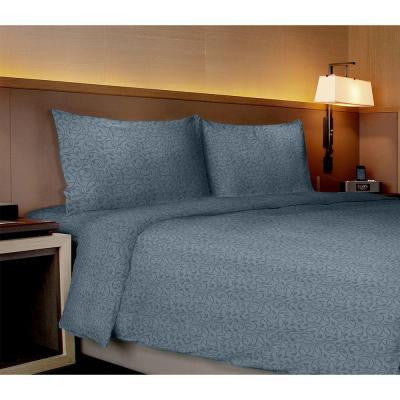 Willow Collection Vines Medium Blue Full Sheet Set (4-Piece)