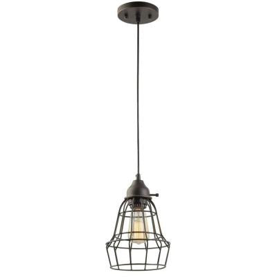 1-Light Oil-Rubbed Bronze Vintage Hanging Caged Pendant with Black Cord