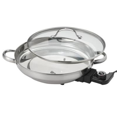 13 in. 304 Stainless Steel Round Fry Pan