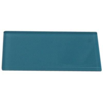 Contempo Turquoise Polished 3 in. x 6 in. x 8 mm Glass Subway Tile