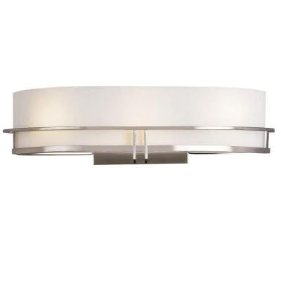 Cabernet Collection 3-Light Pewter Sconce with White Opal Shade