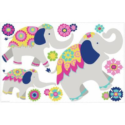 2.5 in. W x 27 in. H Waverly Pink and Yellow Elephant Mega 11-Piece Peel and Stick Giant Wall Decal