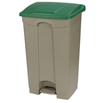 23 Gal. Beige Rectangular Touchless Step-On Trash Can with Green Lid