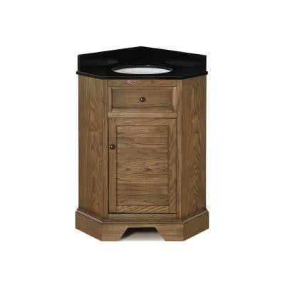 Palmetto 28-7/8 in. Corner Vanity in Driftwood with Granite Vanity Top in Black with White Basin
