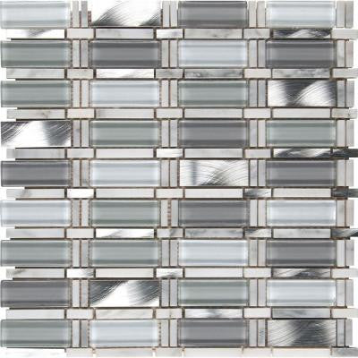 Icelandic Blend Pattern 12 in. x 12 in. x 8 mm Glass Metal Stone Mesh-Mounted Mosaic Tile