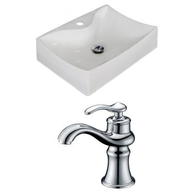 21.5-in. W x 16-in. D Rectangle Vessel Sink Set In White Color With Single Hole CUPC Faucet