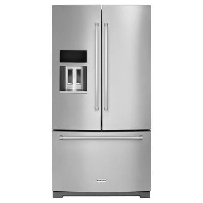 36 in. W 26.8 cu. ft. French Door Refrigerator with Platinum Interior in Stainless Steel