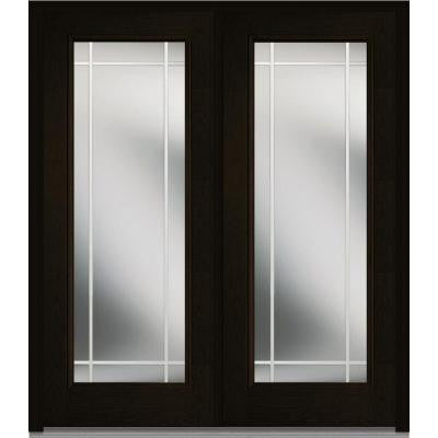 72 in. x 80 in. Classic Clear Glass PIM Full Lite Finished Oak Fiberglass Double Prehung Front Door