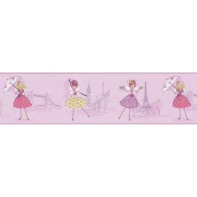 6.8 in. Fairy Tea Time Purple European Party Border