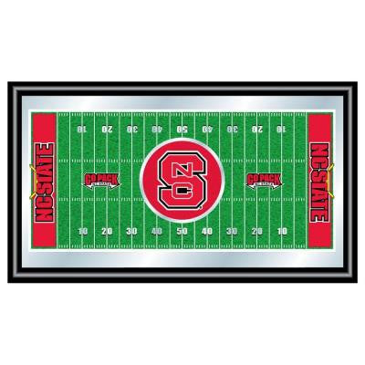 North Carolina State Football 15 in. x 26 in. Black Wood Framed Mirror