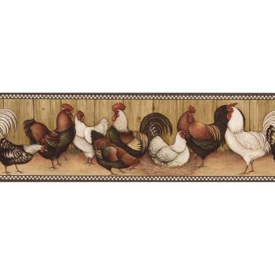 6.75 in. x 15 ft. Black and Brown Rooster Border