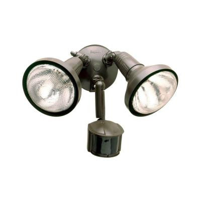 180-Degree Outdoor Bronze Motion Sensing Security/Flood Light with Lamp Cover