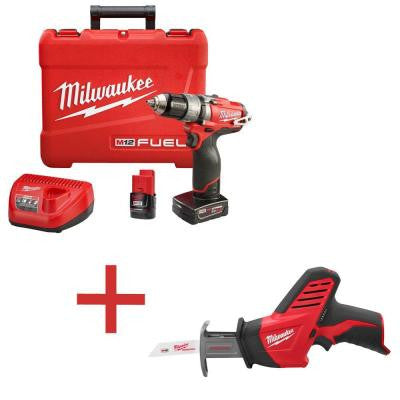 M12 FUEL 12-Volt Lithium-Ion 1/2 in. Cordless Hammer Drill/Driver Kit with M12 HACKZALL Reciprocating Saw (Tool-Only)