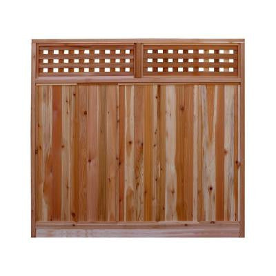 6 ft. H x 6 ft. W Western Red Cedar Checker Lattice Top Fence Panel Kit