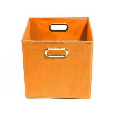 Bold 10.5 in. x 10.5 in. x 10.5 in. Folding Solid Orange Fabric Storage Bin
