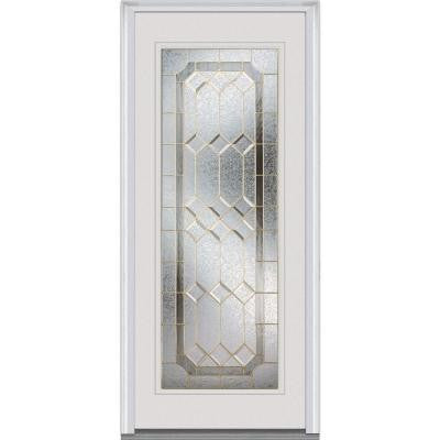 36 in. x 80 in. Majestic Elegance Decorative Glass Full Lite Primed White Steel Replacement Prehung Front Door