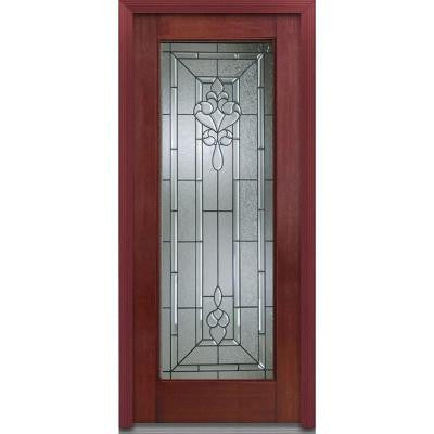 36 in. x 80 in. Fontainebleau Decorative Glass Full Lite Finished Mahogany Fiberglass Prehung Front Door