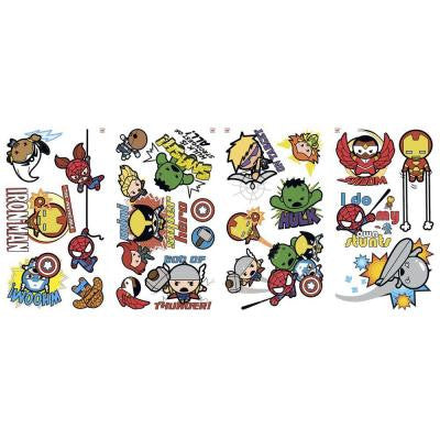 5 in. x 11.5 in. Marvel Superhero Kawaii Art Peel and Stick Wall Decal