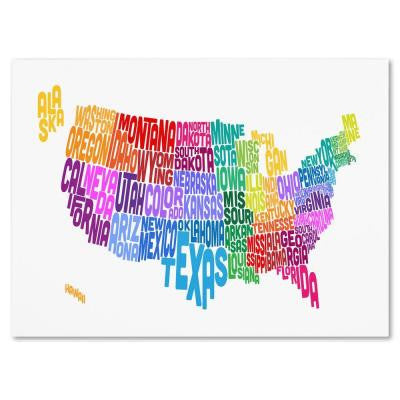 16 in. x 24 in. USA States Txt Map 3 Canvas Art