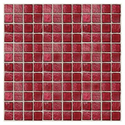 Egyptian Glass Crimson 12 in. x 12 in. x 6 mm Glass Face-Mounted Mosaic Wall Tile (11 sq. ft. / case)