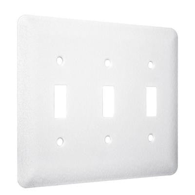 3-Gang 3-Toggle Princess Metal Wall Plate - White Textured (10-Pack)