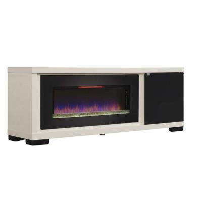 Brickell 70 in. Infrared Media Mantel Electric Fireplace in Antique White