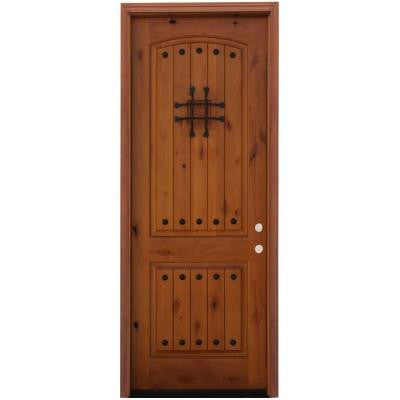 36 in. x 96 in. Rustic 2-Panel Stained Knotty Alder Wood Prehung Front Door with 8 ft. Height Series
