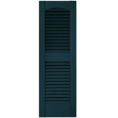12 in. x 36 in. Louvered Vinyl Exterior Shutters Pair #166 Midnight Blue