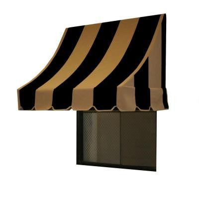 14 ft. Nantucket Window/Entry Awning (31 in. H x 24 in. D) in Black/Tan Stripe