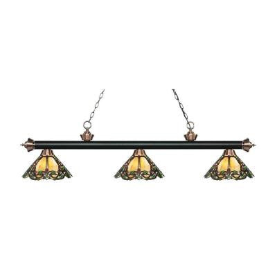 Hadley 3-Light Matte Black and Antique Copper Island Light with Tiffany Glass Shades
