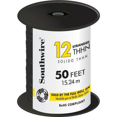 50 ft. 12/2 Stranded THHN Wire - Black