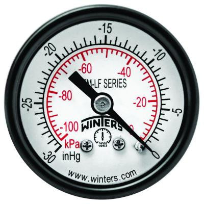 PEM-LF Series 1.5 in. Lead-Free Brass Pressure Gauge with 1/8 in. NPT CBM and 0-30 in. VAC/kPa