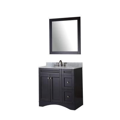 Elise 36 in. Vanity in Espresso with Marble Vanity Top in Italian Carrara White